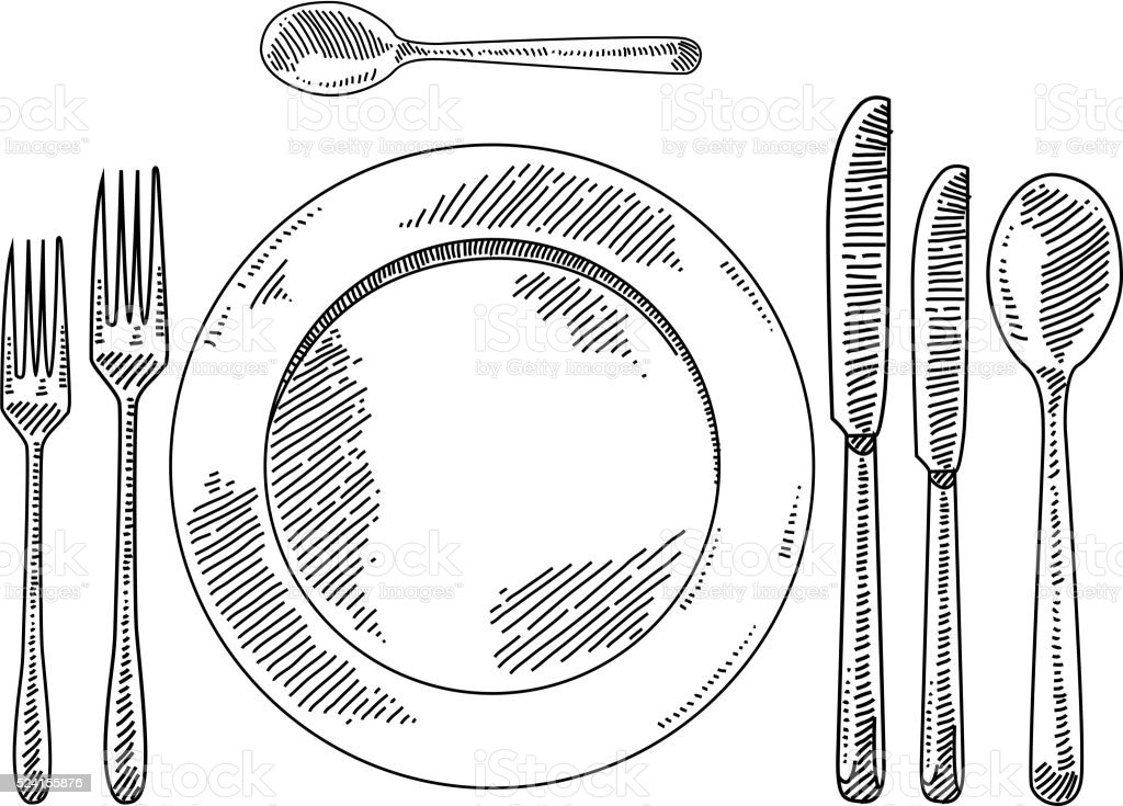 Place setting Drawing vector art illustration