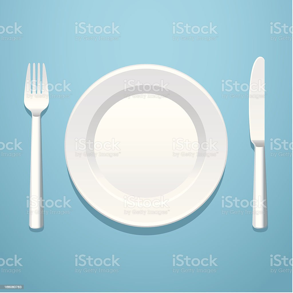 A place setting with a knife, fork, and plate vector art illustration