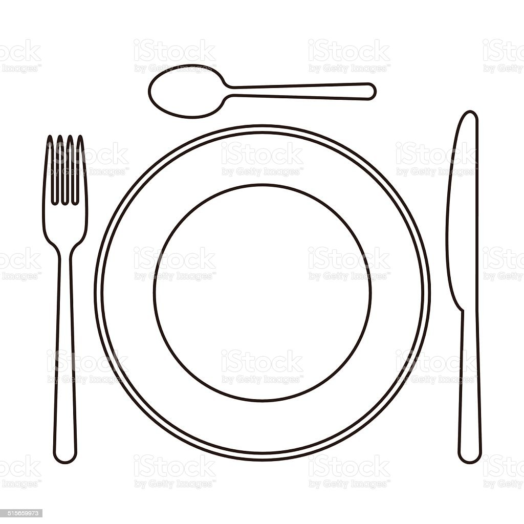 Gedeck Mit Messer Teller L246ffel Und Gabel Vektor  : place setting with plate knife spoon and fork vector id515659973 from www.istockphoto.com size 1024 x 1024 jpeg 231kB