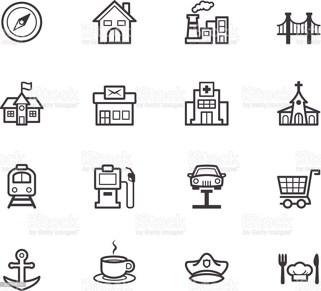 place vecter black icon set on white background vector art illustration