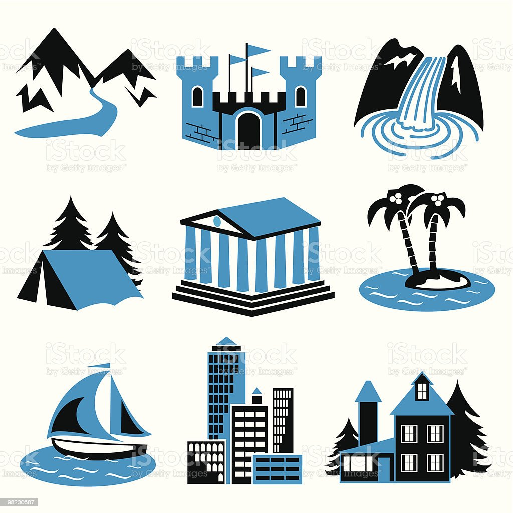 places rest vector art illustration