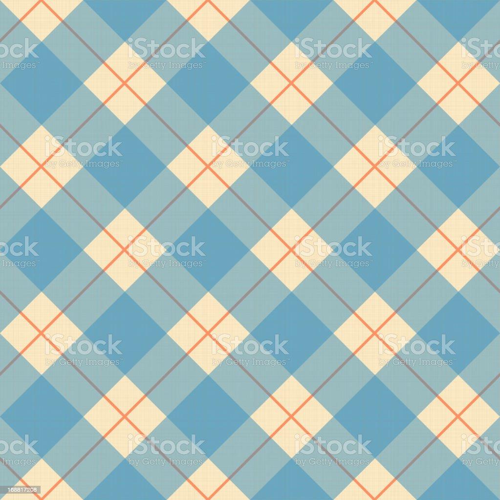 Plaid blue, cream and orange pattern on a textile texture vector art illustration