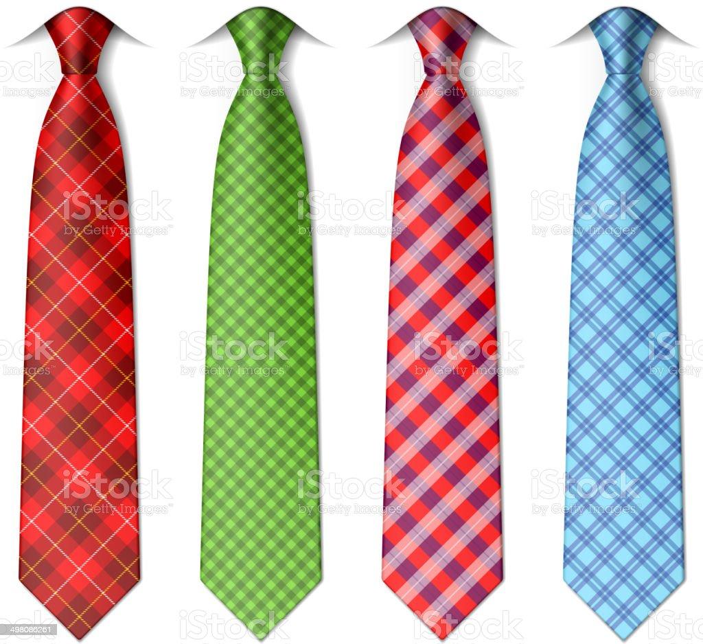 Plaid, checkered silk ties vector art illustration