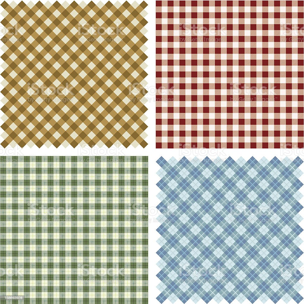 Plaid Fabric background set vector art illustration