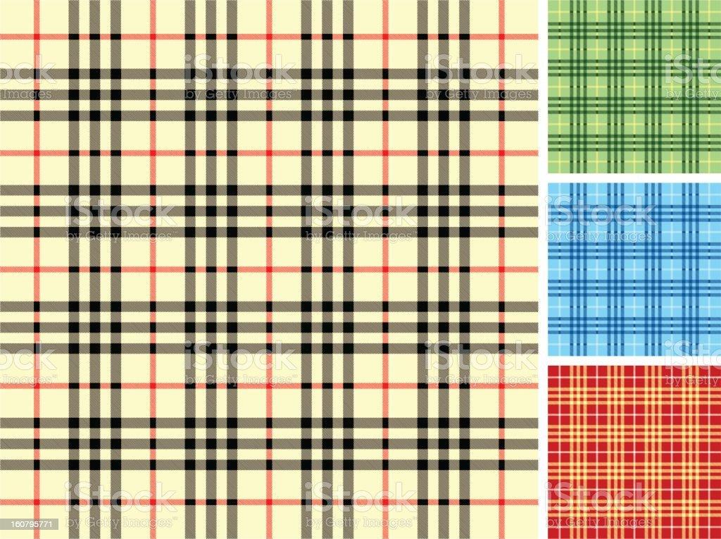 Plaid Fabric set vector art illustration
