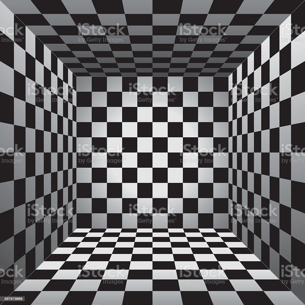 plaid room black and white cell 3d chess board vector stock vector