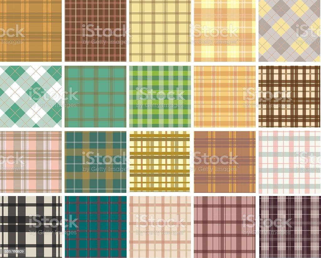 Plaid seamless patterns vector art illustration