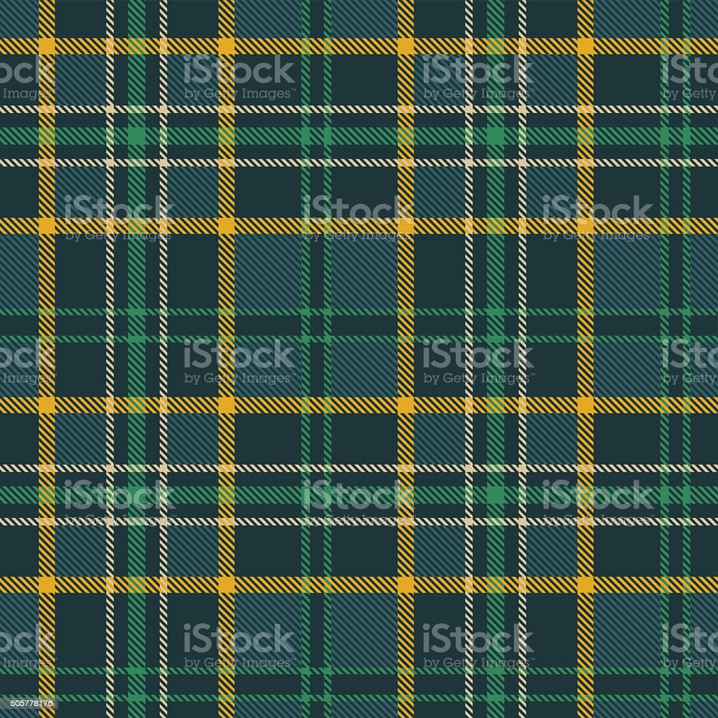 Plaid tartan checkered seamless pattern. Green, yellow, beige, teal vector art illustration