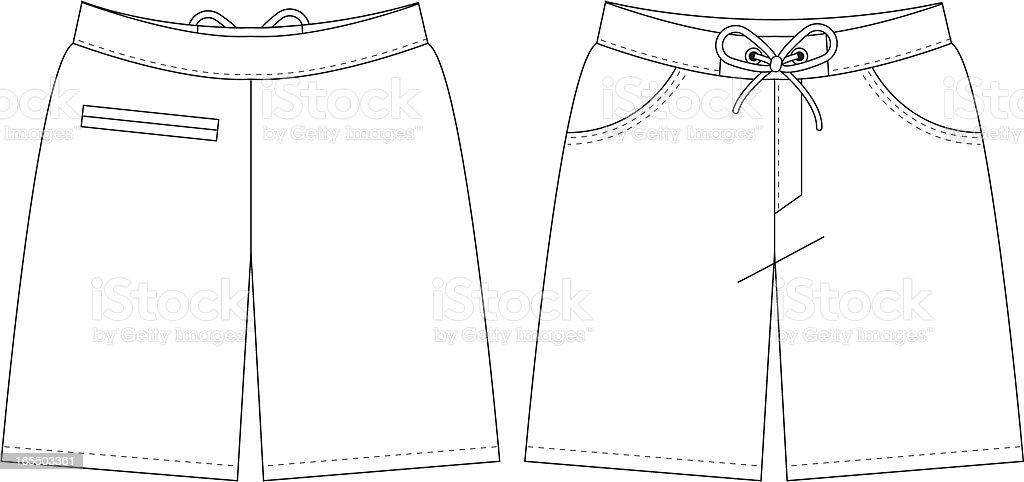 Plain Beach Shorts vector art illustration