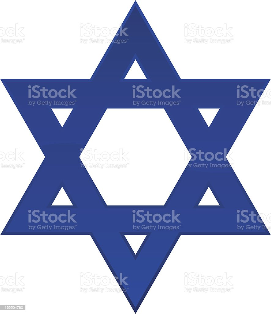A plain blue Star of David with a white background  vector art illustration