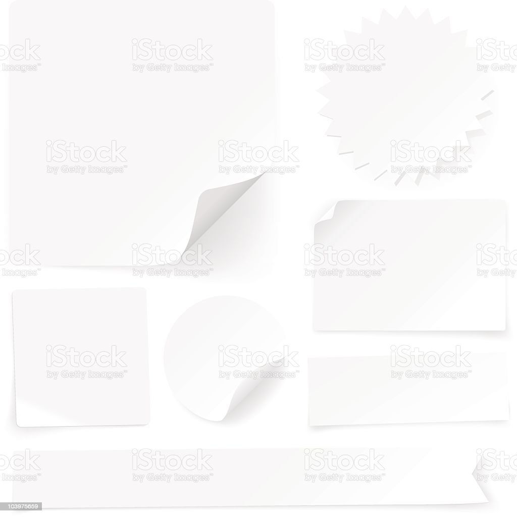 Plain paper labels, tags and stickers vector art illustration
