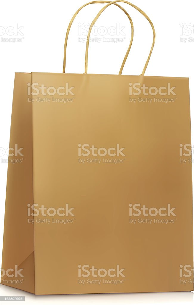 Plain Paper Shopping Bag vector art illustration