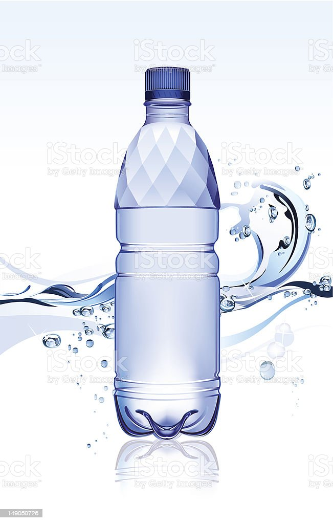 Plain water bottle with water splash background royalty-free stock vector art