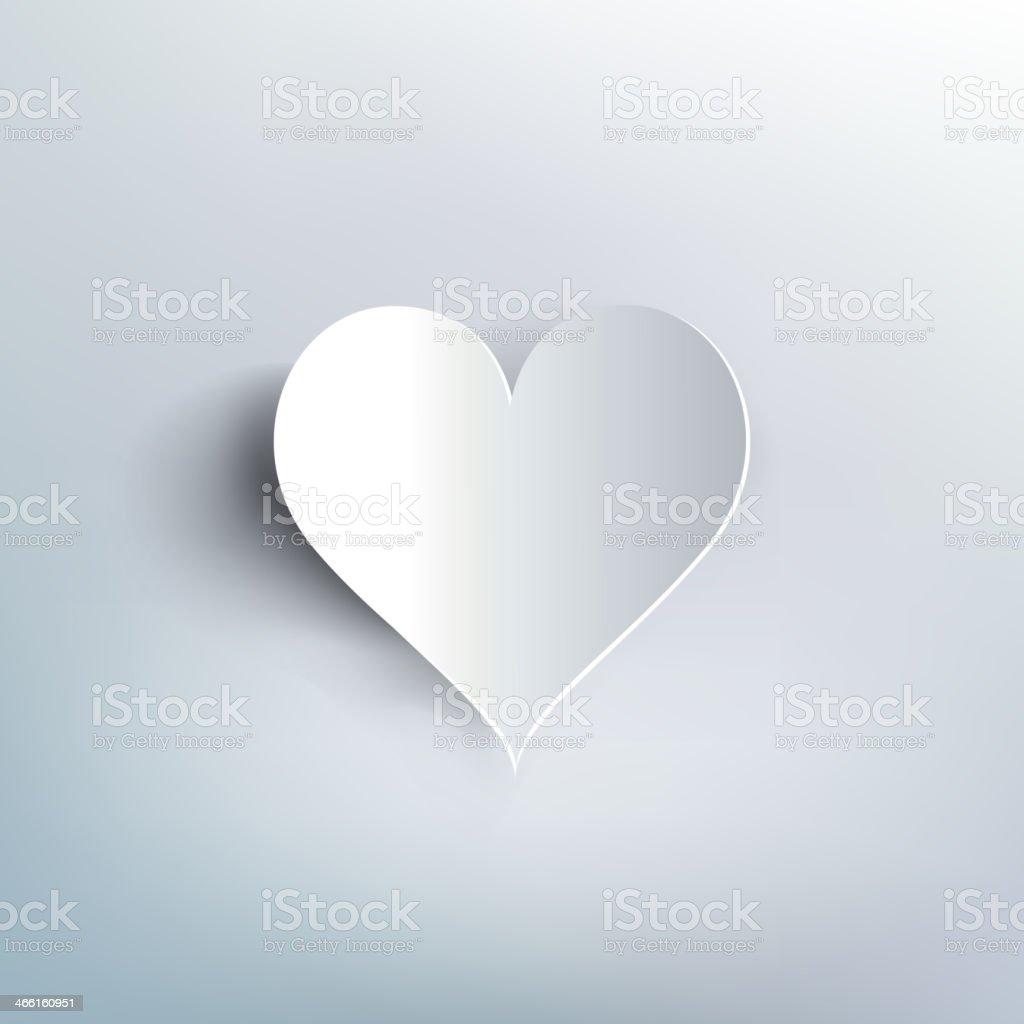 Plain white paper heart casting shadow. Valentines day vector art illustration