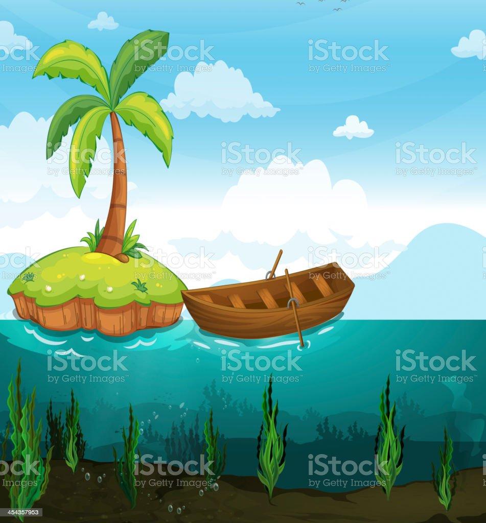 plam tree and rowboat royalty-free stock vector art