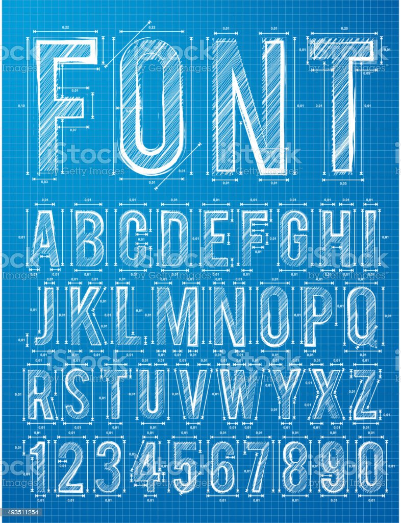 Plan alphabet design font vector art illustration