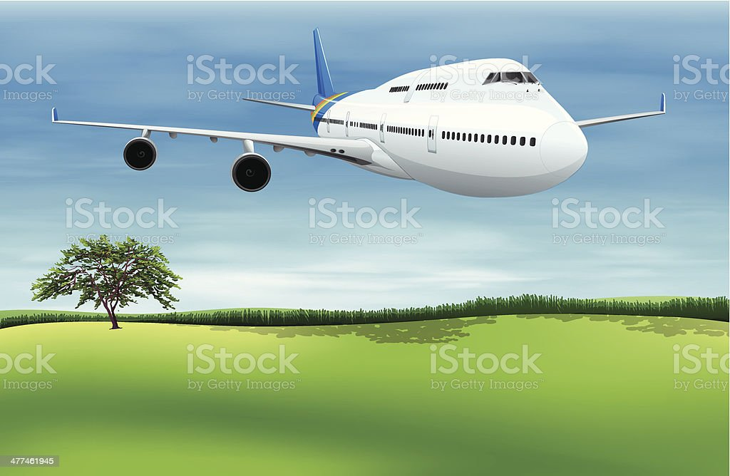 Plane about to land royalty-free stock vector art