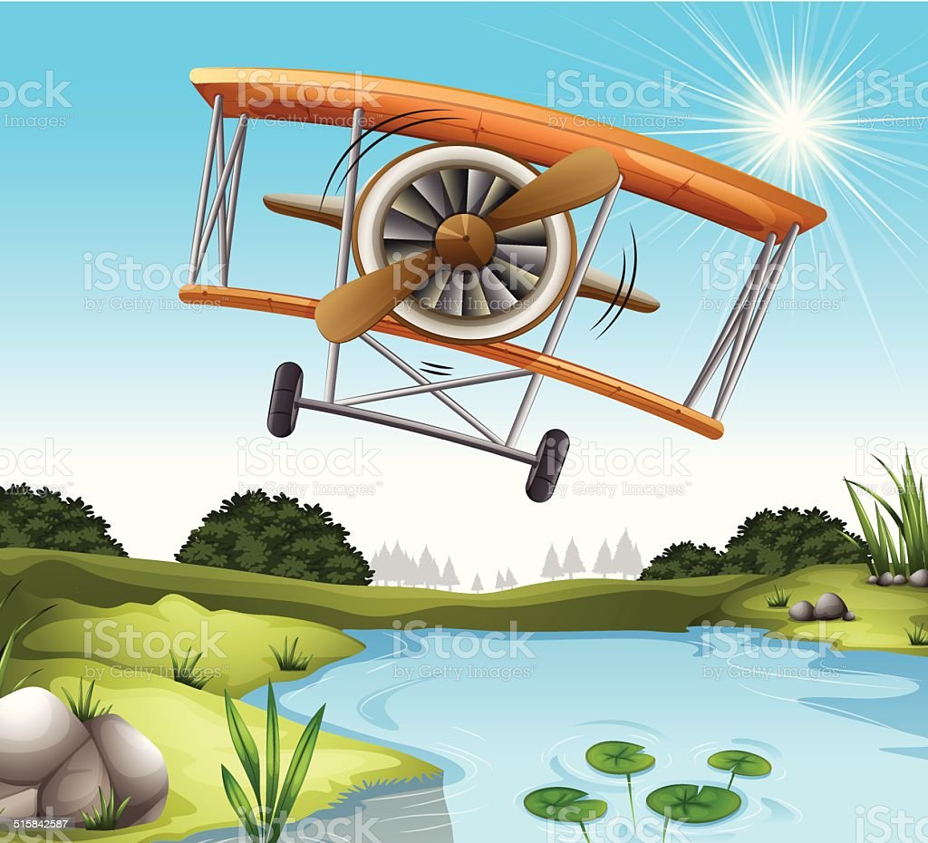 Plane above the pond vector art illustration