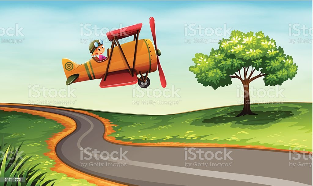 Plane above the winding road vector art illustration
