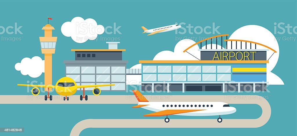 Plane and Airport Flat Design Illustration Icons Objects vector art illustration