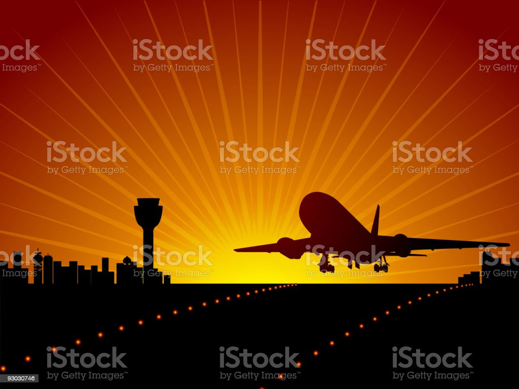 Plane and airport royalty-free stock vector art