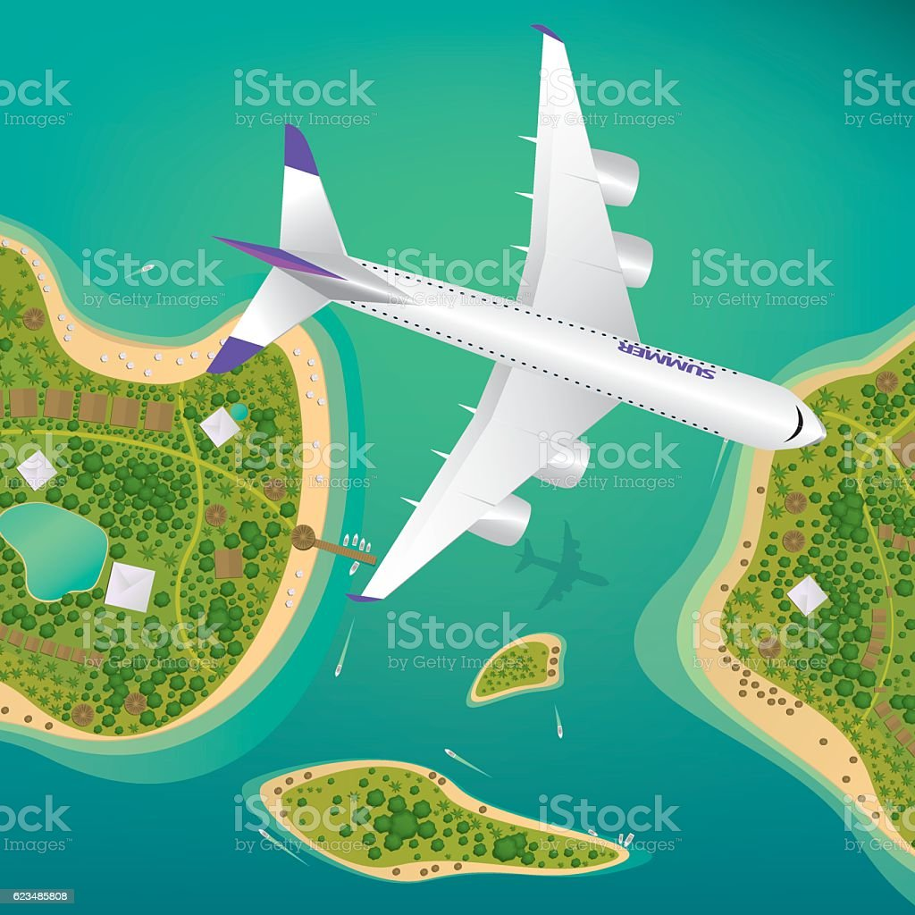 Plane flies over a few tropical islands vector art illustration