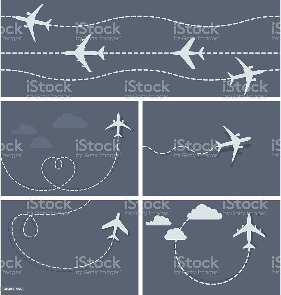 Plane flight - dotted trace of the airplane vector art illustration