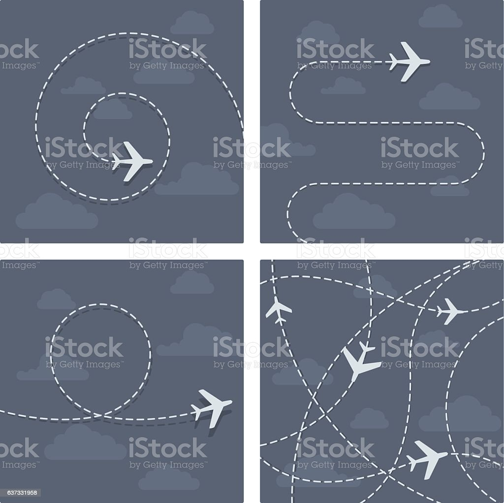 Plane flight with dotted trace of the airplane vector art illustration