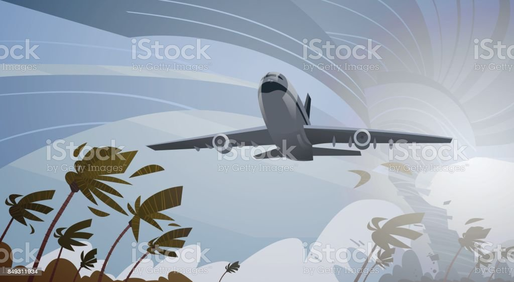 Plane Fly Over Swirling Tornado In Sky Aircraft Landing In Storm Hurricane Huge Wind Waterspout Twister Tropical Natural Disaster Concept vector art illustration