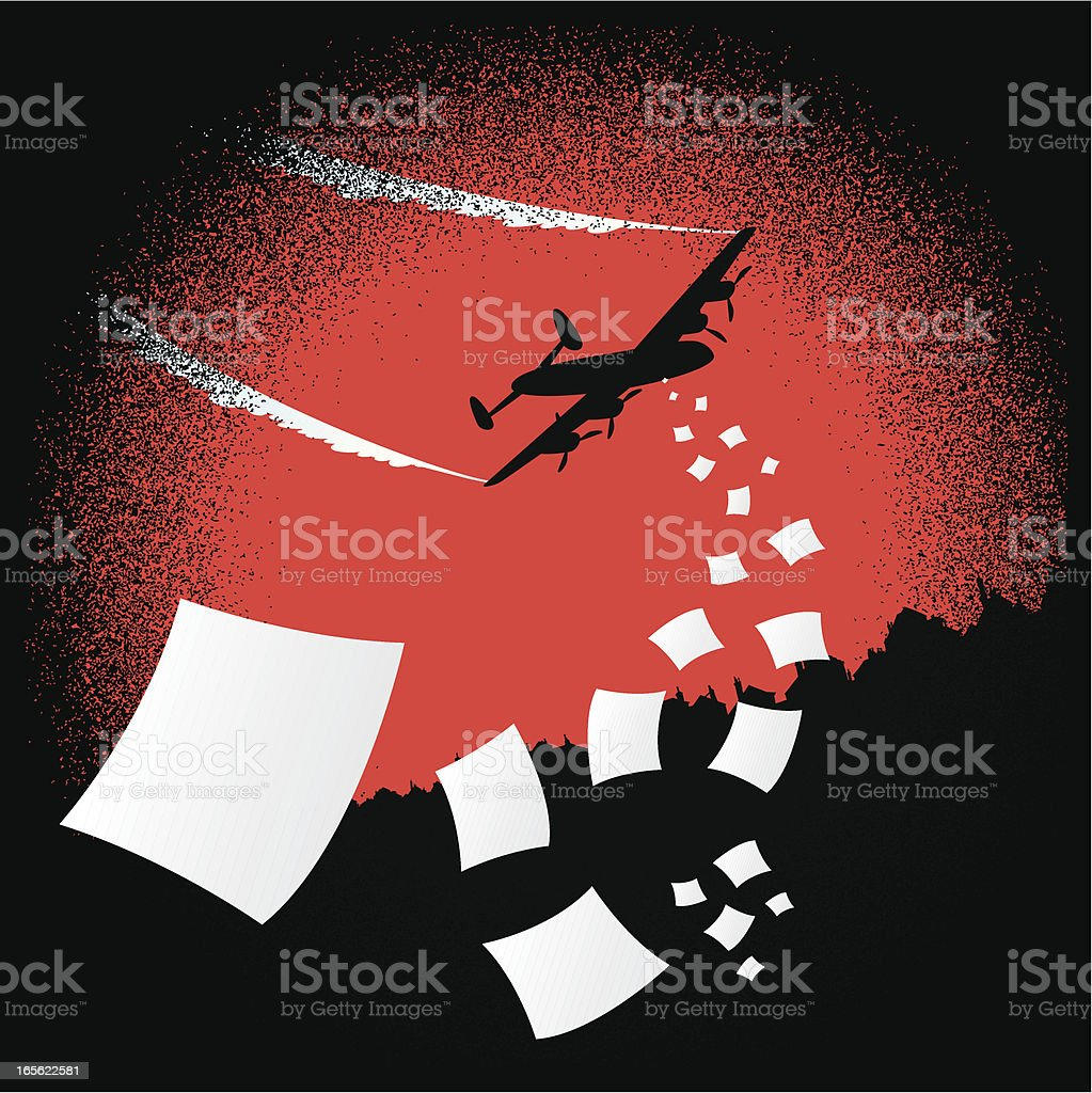 Plane flyering leaflets royalty-free stock vector art