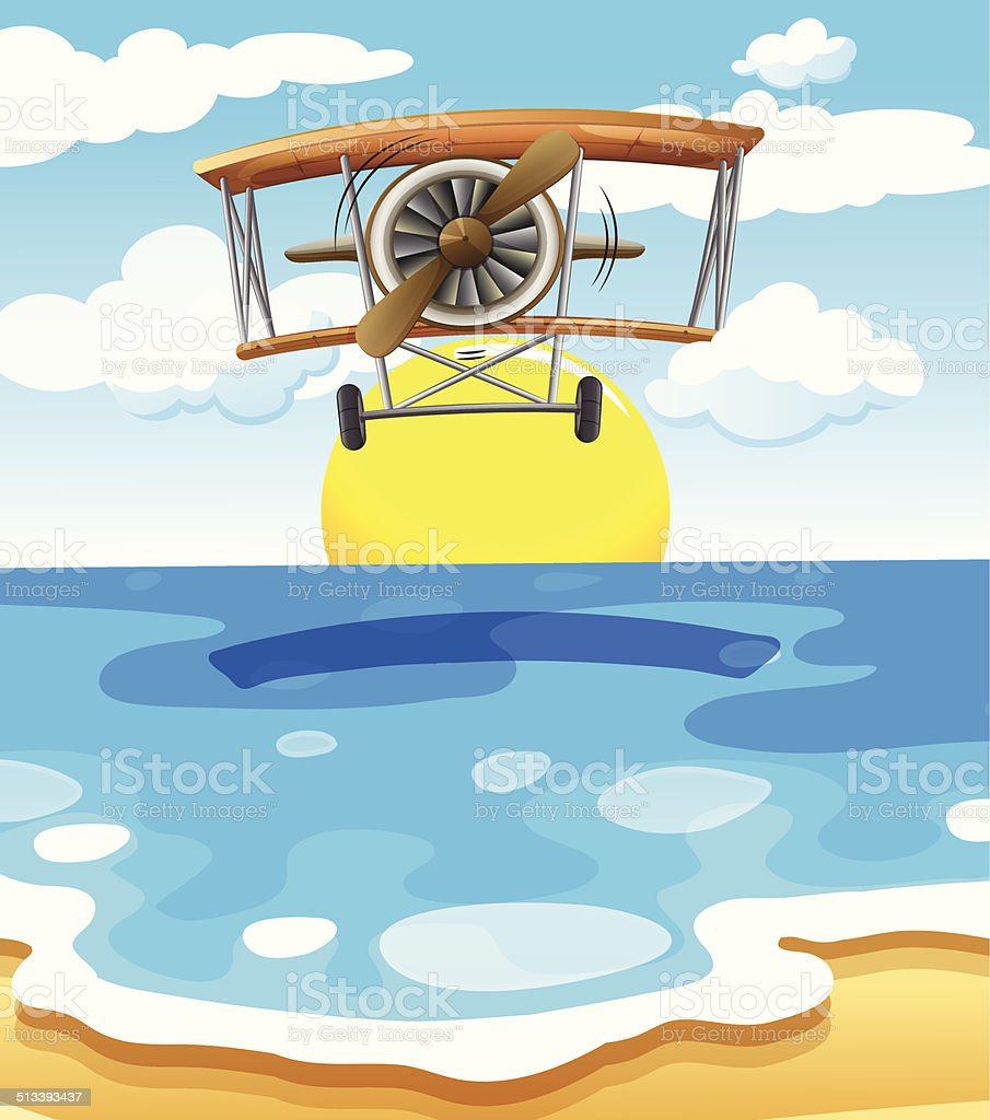 Plane flying above the sea vector art illustration