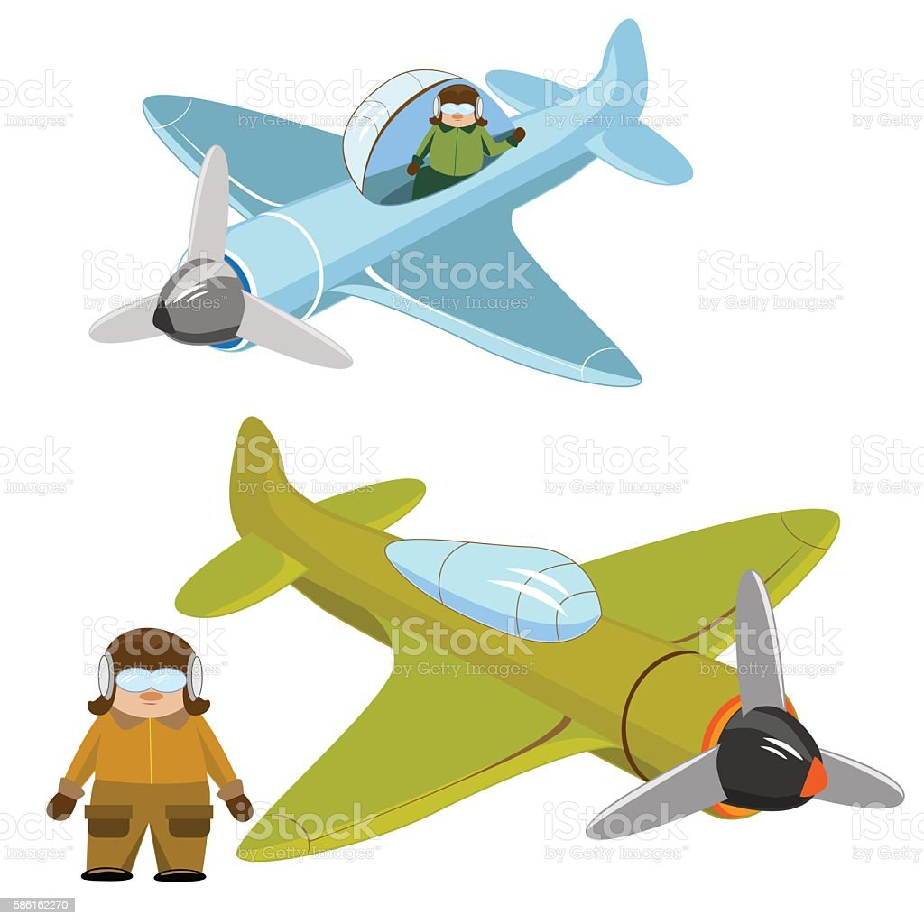 Plane green and blue with isolated pilot royalty-free stock vector art