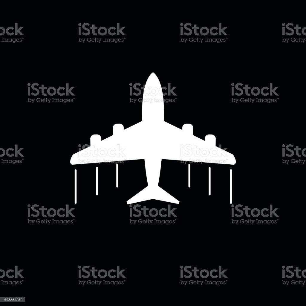 Plane icon. Airplane flat vector illustration on grey background vector art illustration