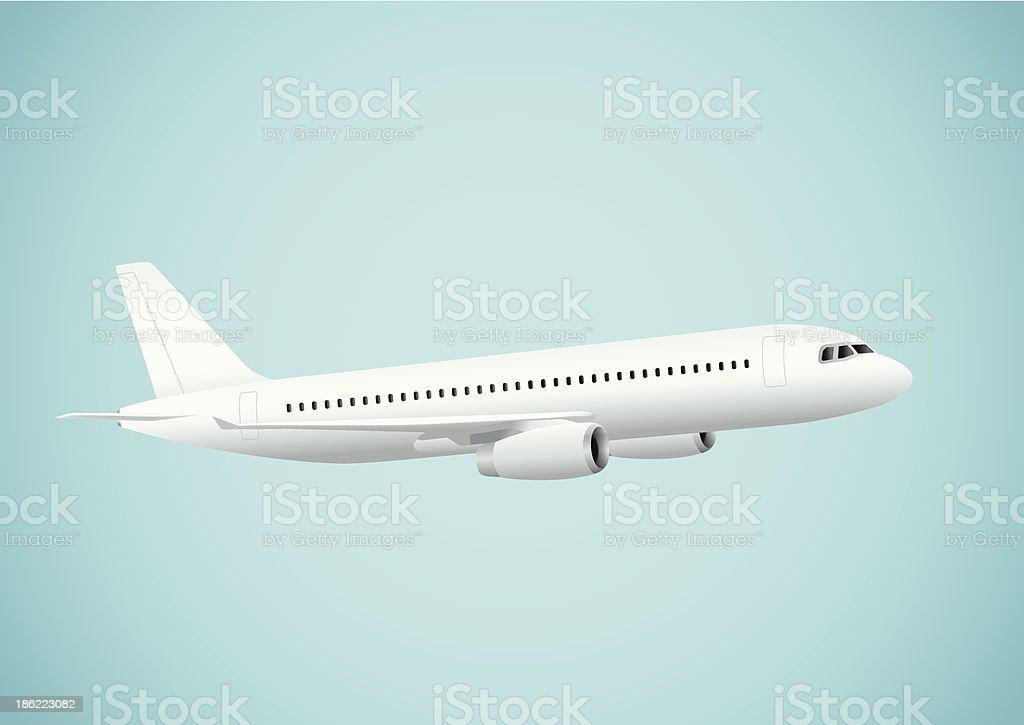 Plane in blue background vector art illustration