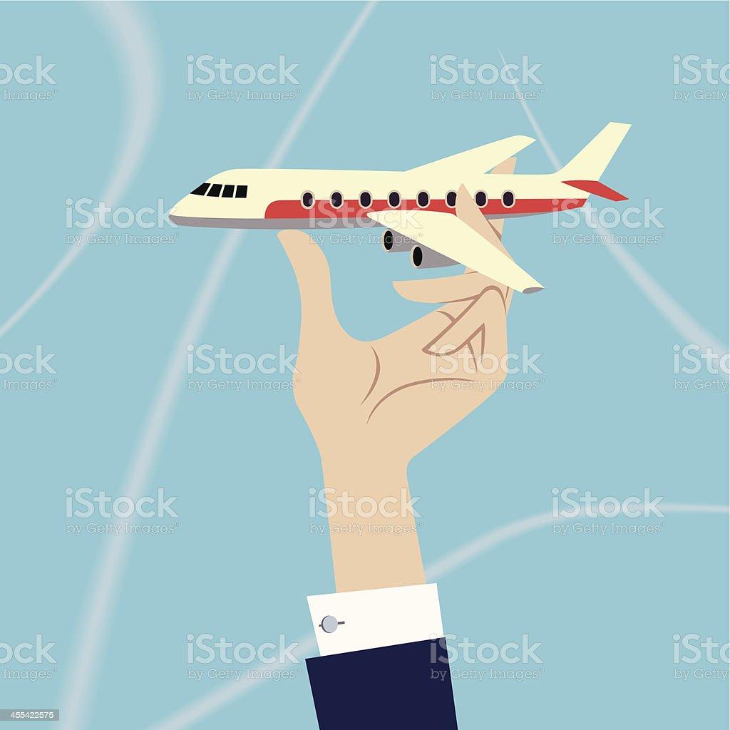 Plane in Hand. vector art illustration