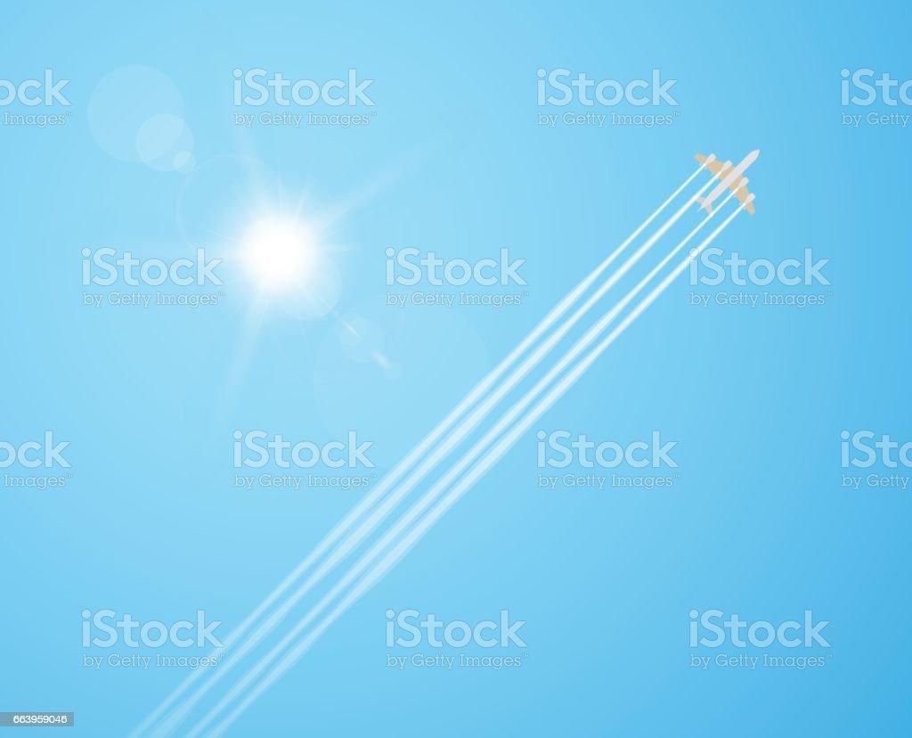 Plane in the sky vector art illustration
