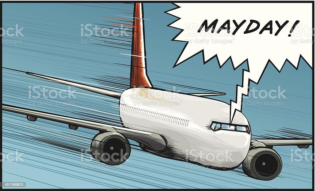 Plane mayday royalty-free stock vector art