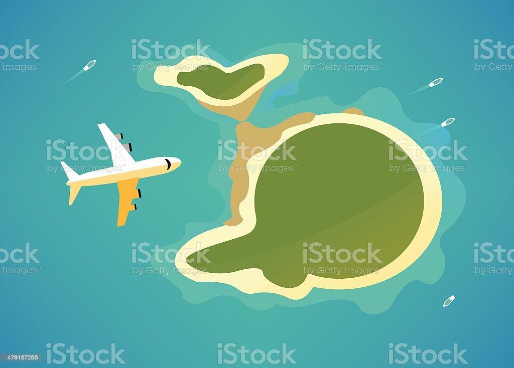 Plane over the tropical island. vector art illustration