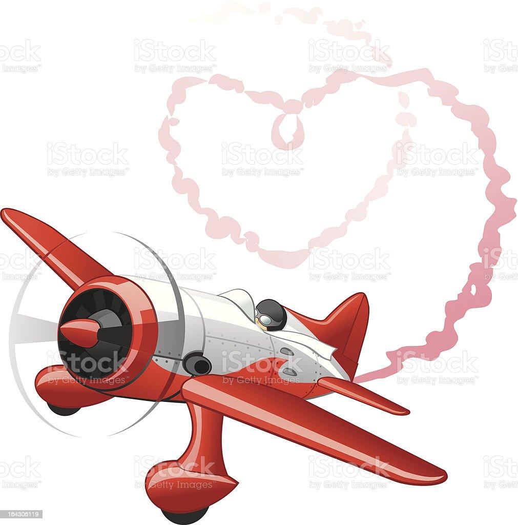 Plane sending love message royalty-free stock vector art