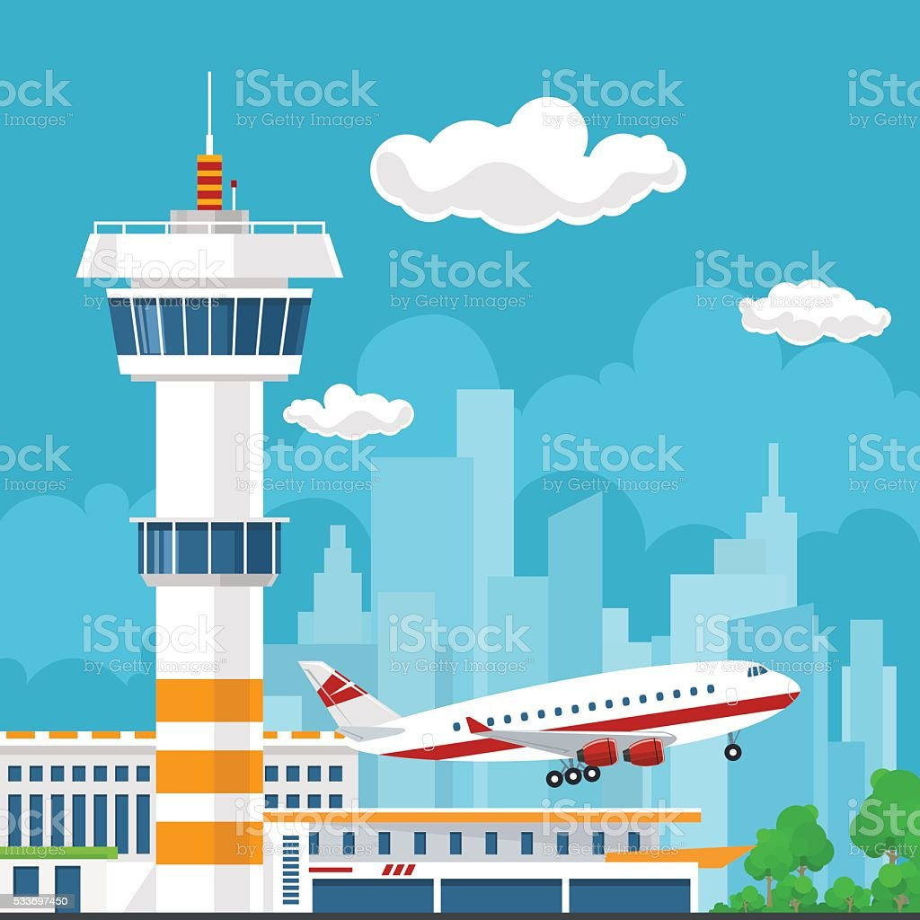 Plane Takes Off from the Airport vector art illustration