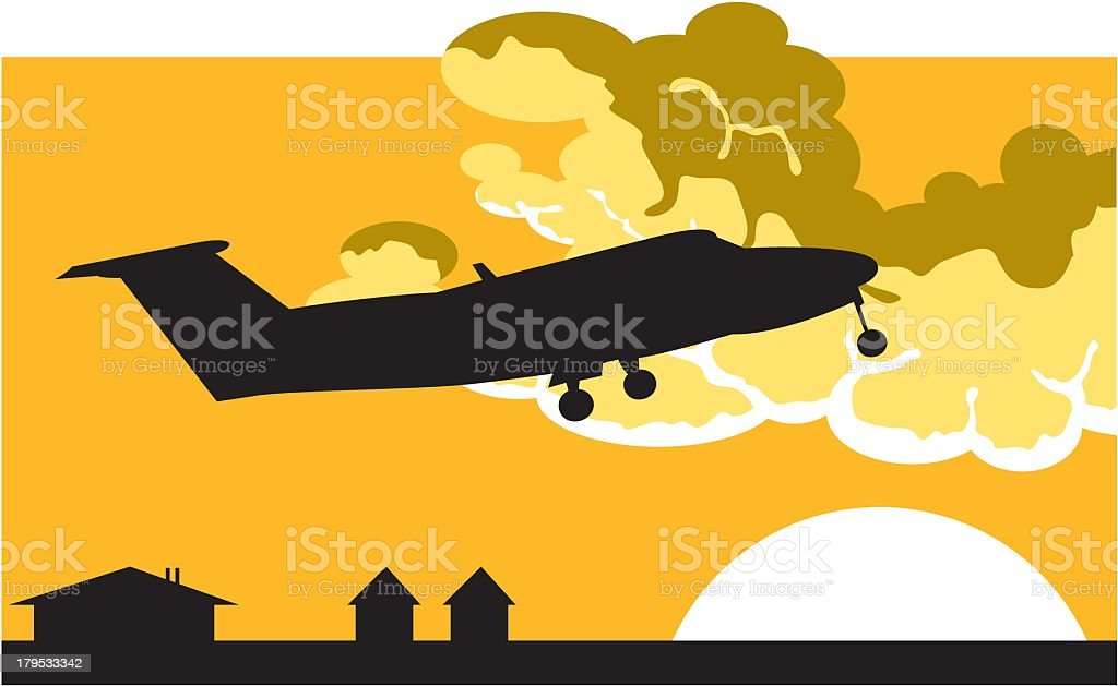 Plane Taking Off royalty-free stock vector art