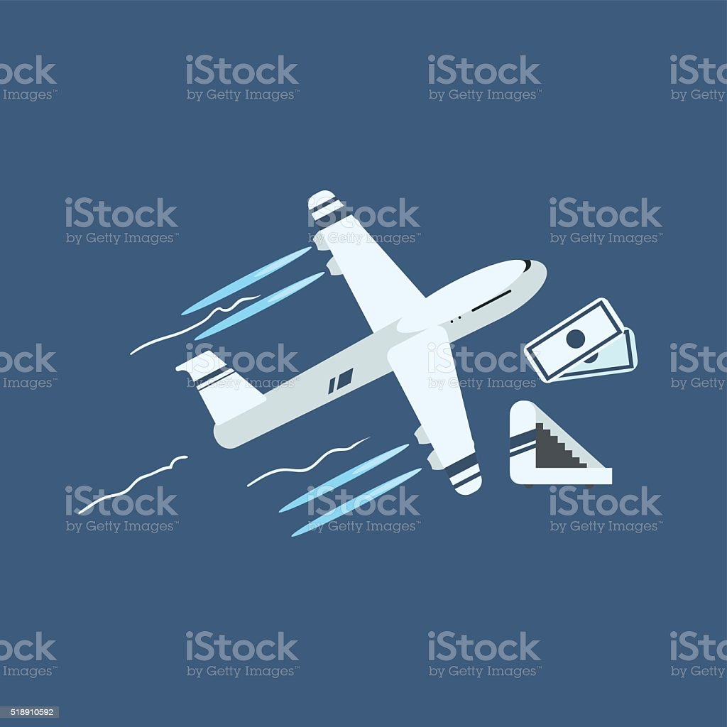 Plane Taking Off vector art illustration
