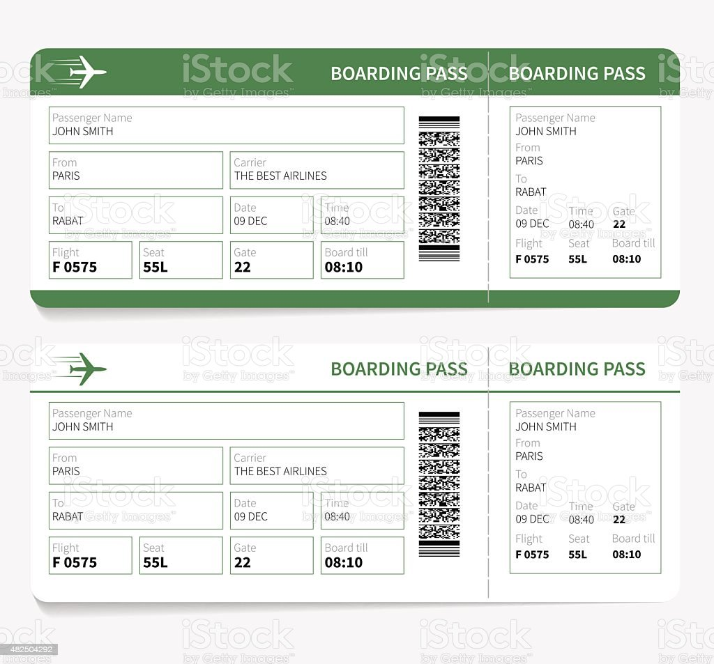 plane tickets green boarding pass and gate number vector art illustration