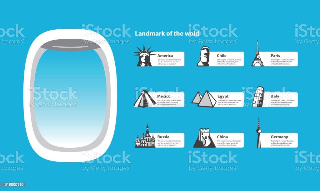 plane window and landmarks of the world vector art illustration
