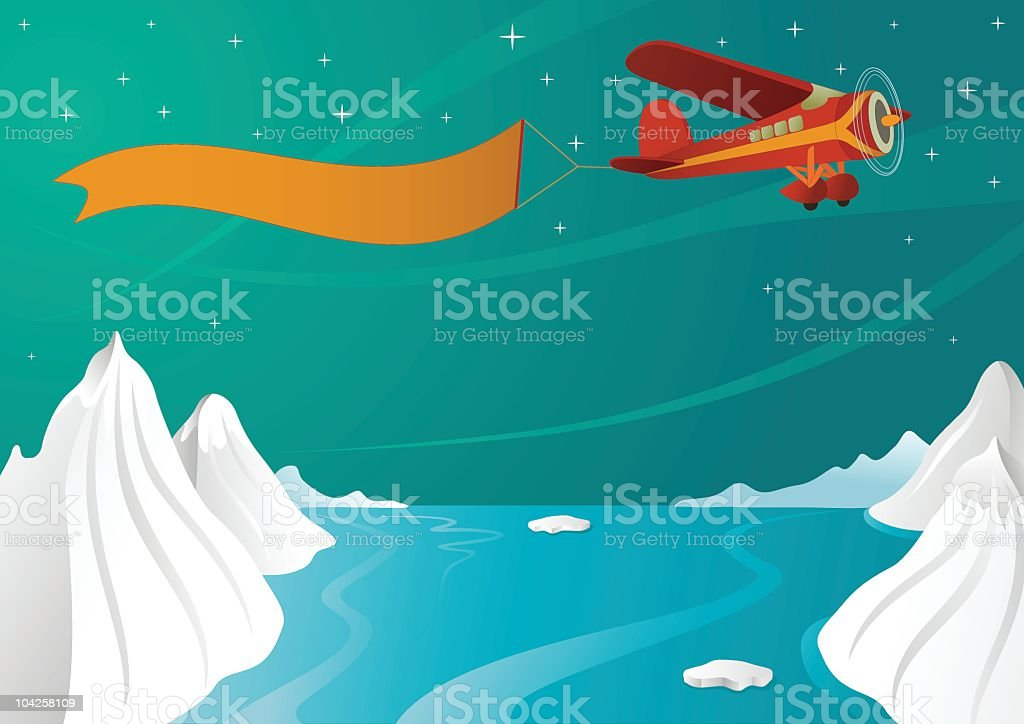 Plane with banner royalty-free stock vector art