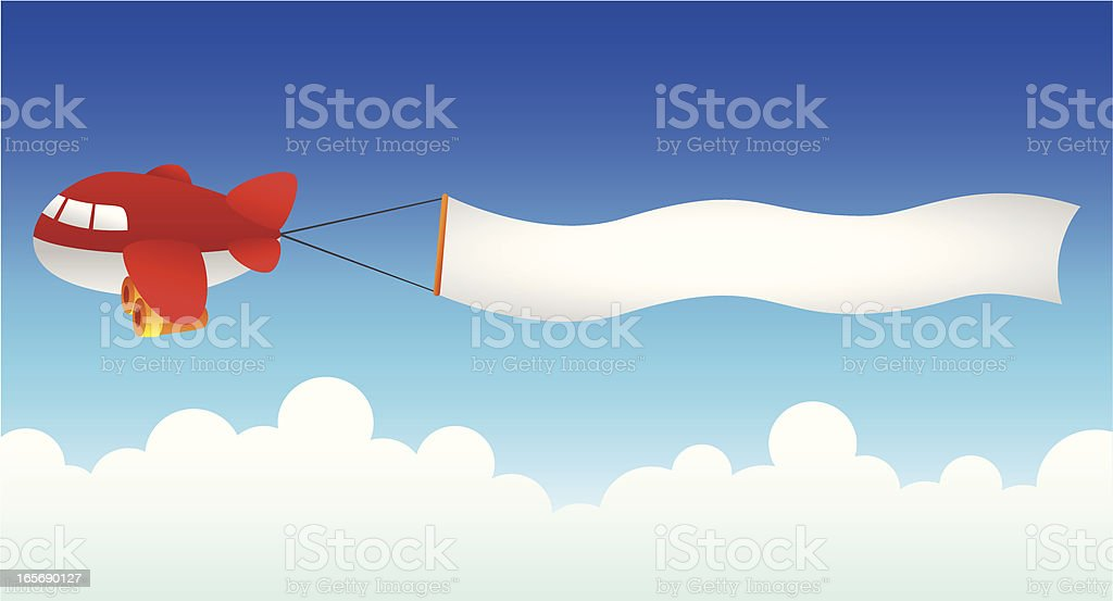 Plane with banner vector art illustration