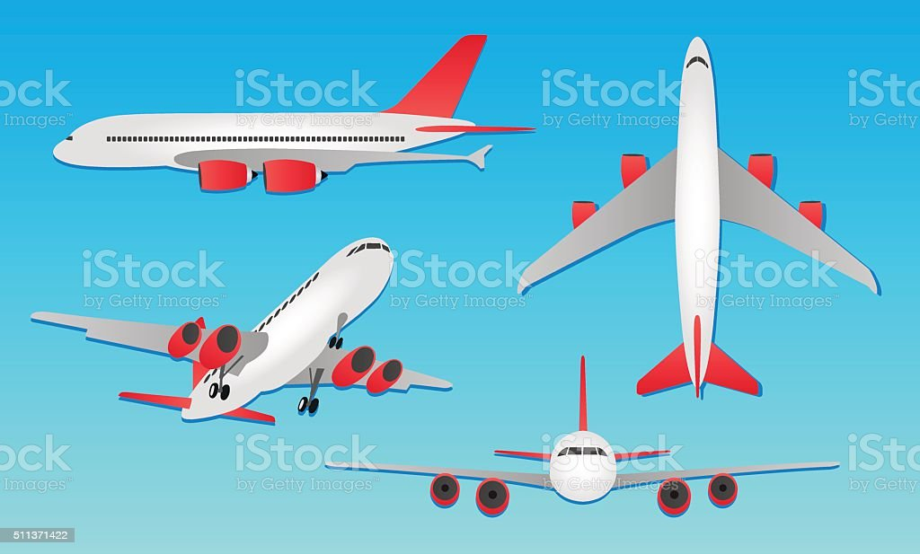 Planes - different angles and views vector art illustration