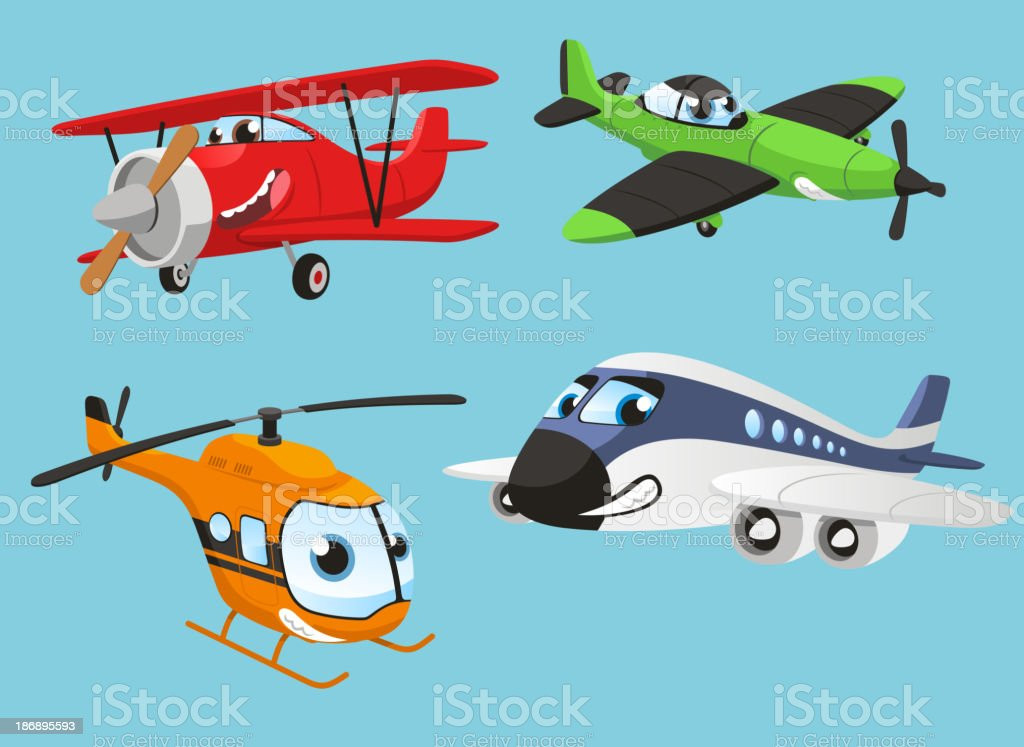 Planes humanized Helicopter Plane Aircraft Boeing Airbus royalty-free stock vector art