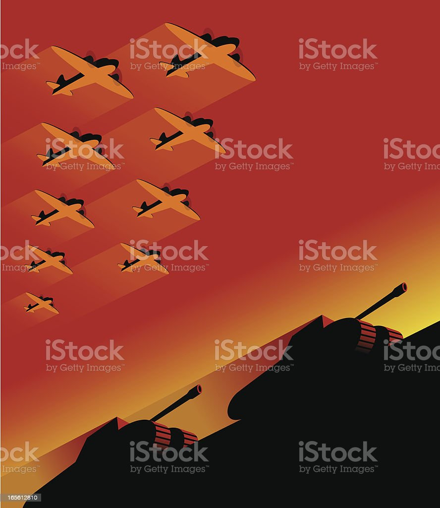9 planes in the sky on mechanized army vector art illustration