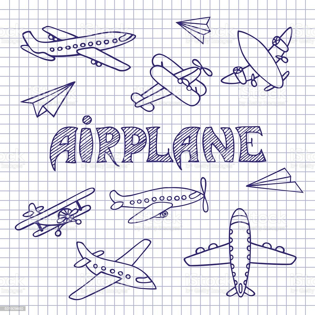 planes on a notebook sheet stock vector art 531929850 istock